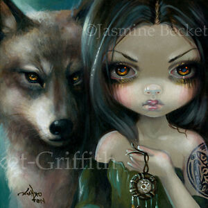 Fairy-Face-226-Jasmine-Becket-Griffith-wolf-dreamcatcher-faery-SIGNED-6x6-PRINT