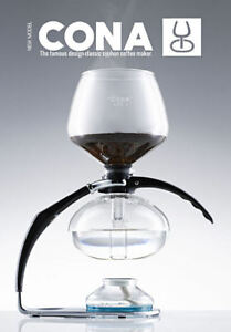 CONA Coffee Maker, New 2021 'Size D-Genius All-Glass' model, serves max. 8 cups