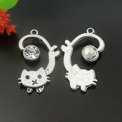 14pcs/lot Vintage Silver Alloy Cute Cat Pendant Charms 26*15*5mm 39576