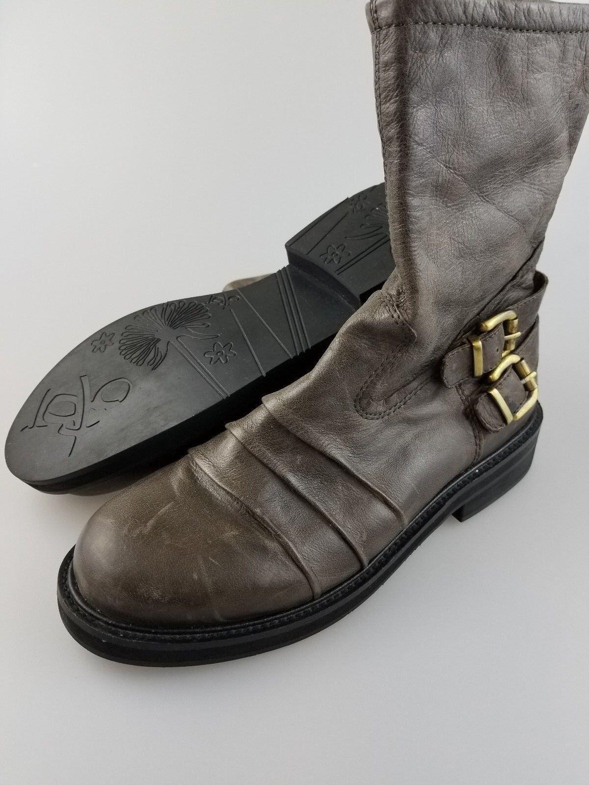OTBT Appleton Brown Leather Zip Boots Women's US Size 9 M Medium