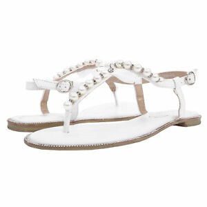 38e14969da829 SheSole Womens Flat Sandals Flip Flops Beach Wedding Shoes Pearl T ...