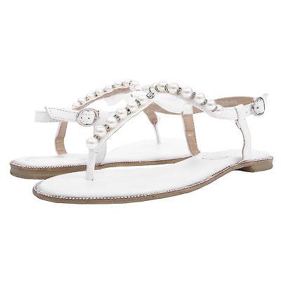 SheSole Womens Flat Sandals Flip Flops Beach Wedding Shoes Pearl T strap White | eBay