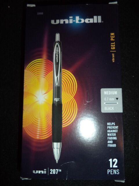 12 Uni-ball Signo 207 Retractable Gel Pens 0.7 MM Point  BLACK INK 33950 BULK PK