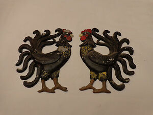 Pair of Vintage Cast Aluminum Chicken Rooster Metal Wall Art