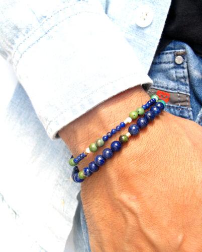 Blue turquoise lapis 14 kt gold beads bracelet white opal strand wrap bead gem