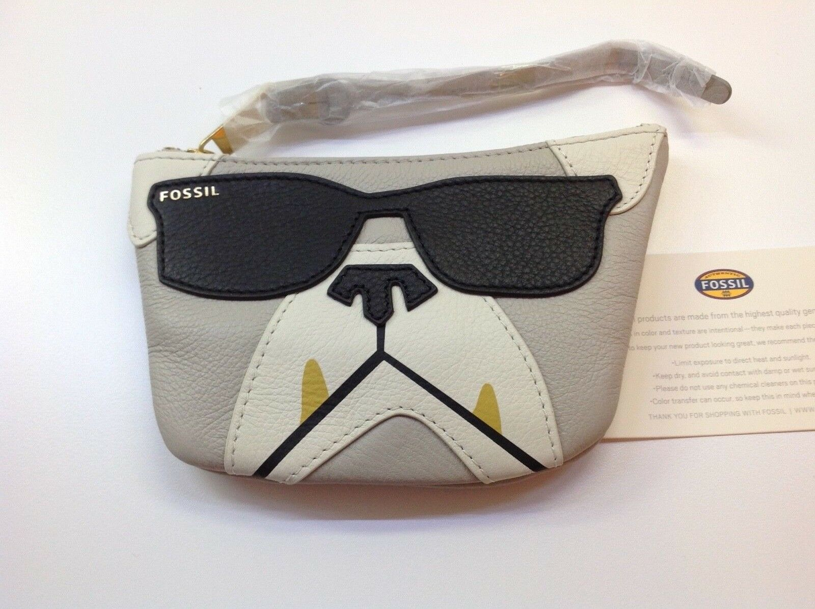 ****************************NWT Fossil Boxer Dog w/ Black Sunglasses Coin Wallet