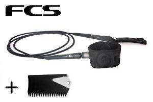 FCS 6/' Black Freedom Surfboard Leash Free Wax Bit Bar