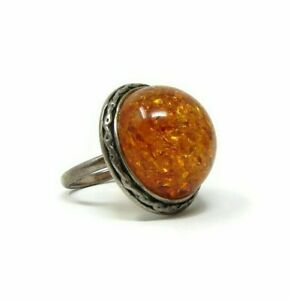 Vintage-Amber-and-Sterling-Silver-Cabochon-Ring-Size-6