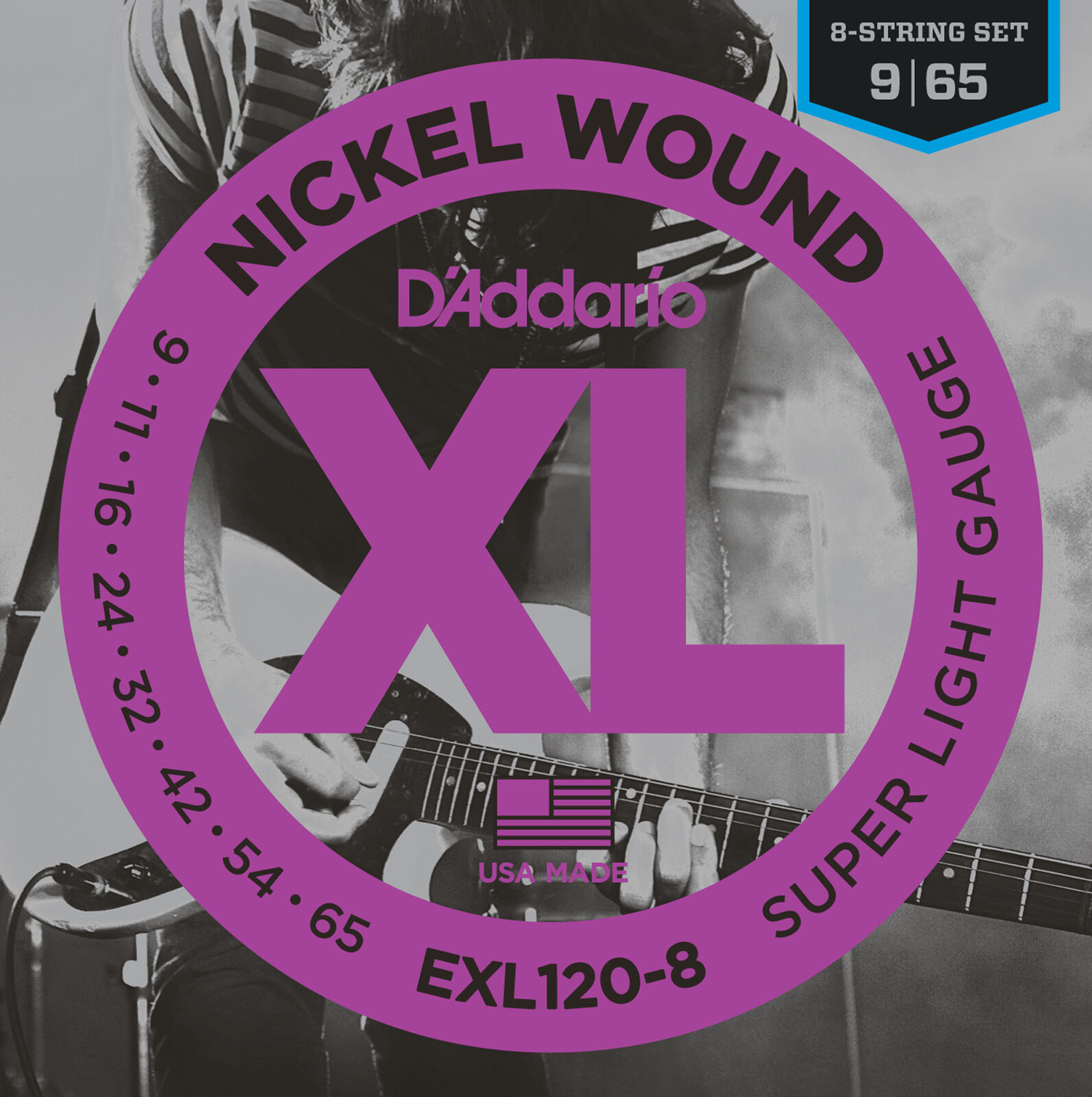 10 Sets D'Addario EXL120-8 8-String Nickel Super Lite Guitar Strings 9-65