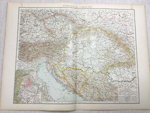 1899 Antik Map Of Österreich Ungarn Reich Alte Europa 19th Jahrhundert Original