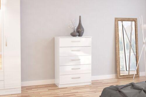 Birlea Lynx High Gloss All White 5 drawer midi chest  bedroom furniture new