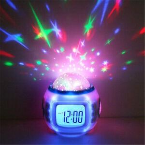 Music LED Star Sky Projection Digital Alarm Clock Calendar Thermometer Kids