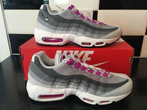 1L67 NIKE AIR MAX 95 OG Pure PlatinumHyper Violet 307960 001 UK 6 EU 40