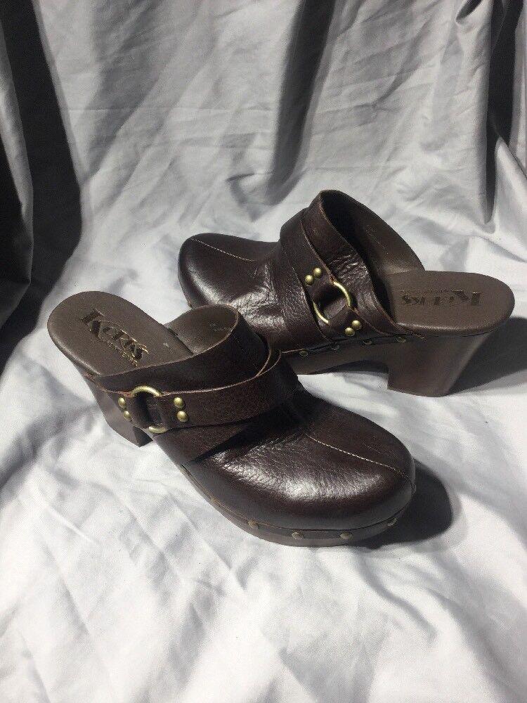 autorizzazione ufficiale Donna    scarpe Korks by Kork-Ease FELISA Clogs Studded Mule Leather Marrone Siz 8.5  qualità garantita