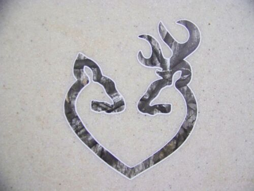 Browning Style Buck and Doe Heart Camo Camouflage Hunting Sticker Decal