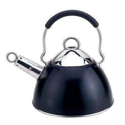 Fresco Black / Stainless Steel 2L Whistling Tea Kettle