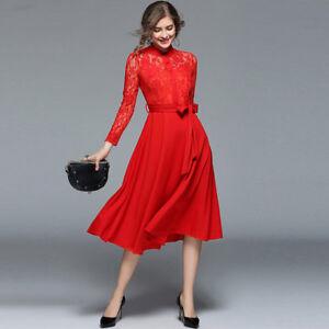 1ae4a0f80d0e Caricamento dell immagine in corso Elegante-vestito-abito-donna-rosso-lungo- scampanato-slim-