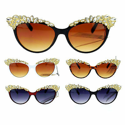Womens Large Rhinestone Jewel Brow Lash Cat Eye Sunglasses