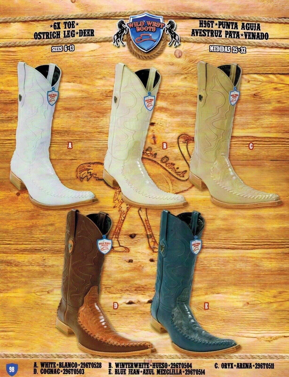 Wild West Men's 6X-Toe Ostrich Leg Deer Cowboy Western stivali Diff. Colorees