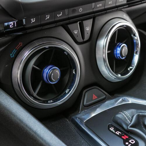 Blue Aluminum Alloy Dashboard Ring Decor Switch Trim For Chevrolet Camaro 2017+