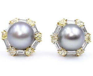 b213a3564 Signed Silver South Sea Pearl & Yellow, Colorless Diamond Earrings ...