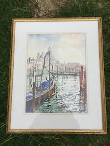 VINTAGE-SIGNED-PETER-McLAUGHLIN-WATERCOLOUR-PAINTING-BOATS-BOAT-IN-HARBOUR