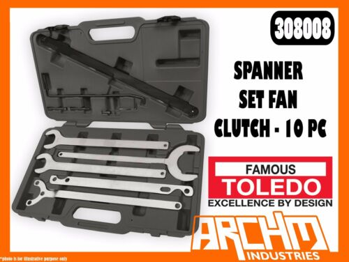 TOLEDO 308008 SPANNER SET FAN CLUTCH 10 PC WATER PUMP PULLEY HOLDER SET