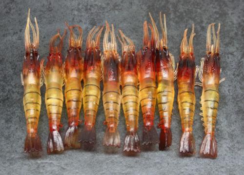 Yabbie fresh /& saltwater Fishing Lure Shrimp 9cm Soft plastic prawns X10