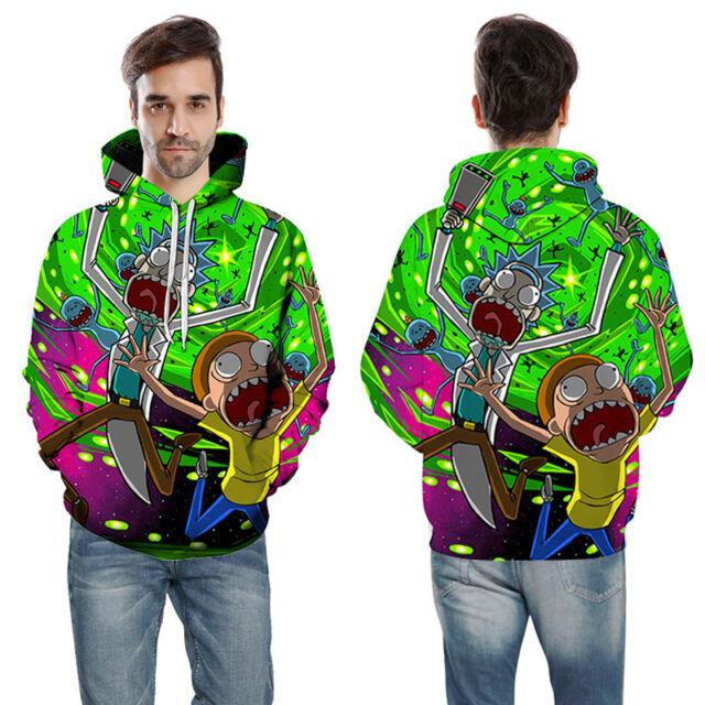 Sweatshirt 3D Print Women/'s//Men/'s Fashion Pullover Rick and Morty Cartoon ra49