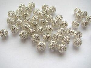 50 pcs Sterling Silver 8 mm Mesh Net Ball Beads HOLLOW
