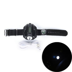 Tactical-Waterproof-Led-Display-Rechargeable-Wrist-Watch-Flashlight-Torch-Lam-ME