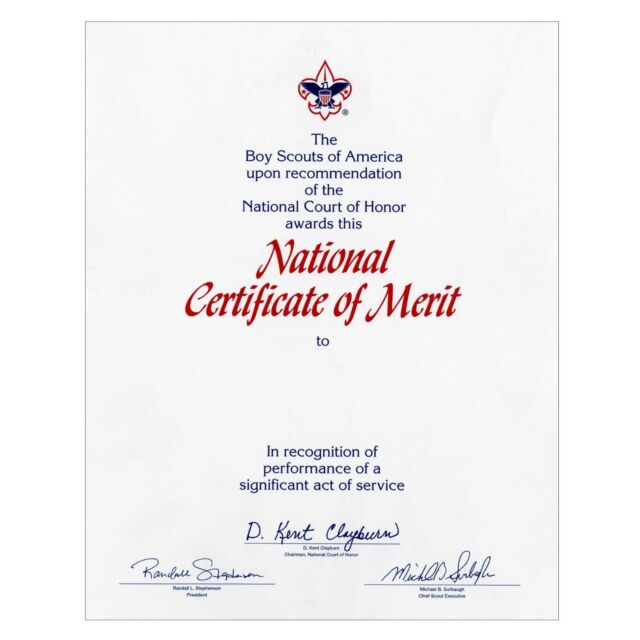 BOY SCOUT OFFICIAL LICENSED NATIONAL COURT OF HONOR CERTIFICATE OF MERIT 8.5X10