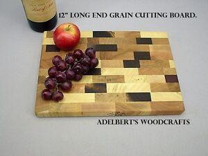 "12/"" x 8.5/"" x 1 /"" Thick end grain hard wood cutting board Made in America."