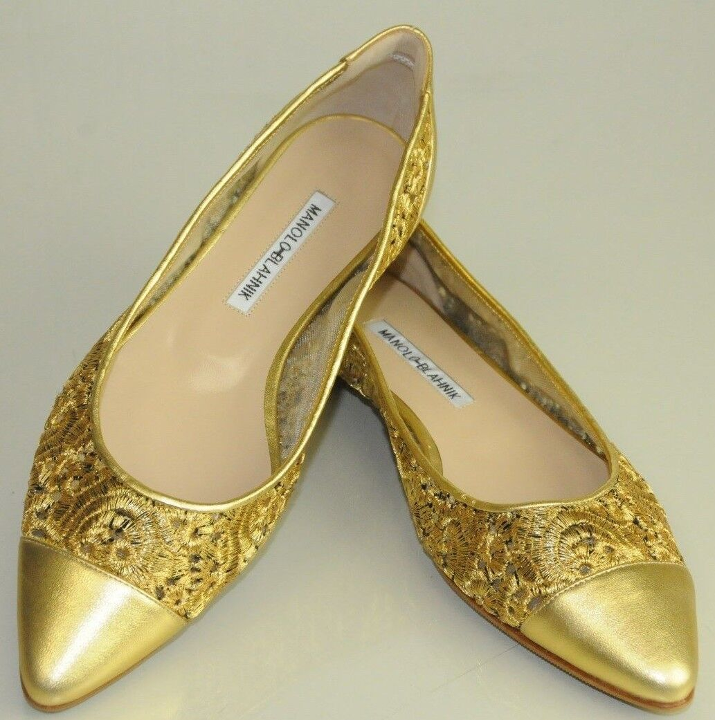 NEW MANOLO BLAHNIK gold Embroidered Lace on Mesh Leather Flats Low Heels 40 41