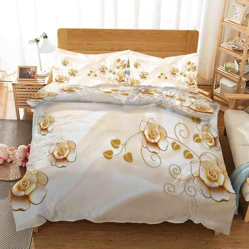 Golden Leaf Tip 3D Printing Duvet Quilt Doona Covers Pillow Case Bedding Sets
