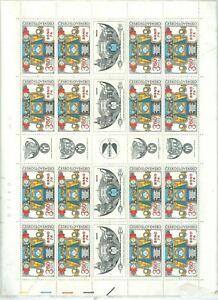 CESKOSLOVENSKO-1920-SHEET-OF-16-STAMPS-9-LABELS-UNUSED-SHEET-STUCK-TO-GLASSEN