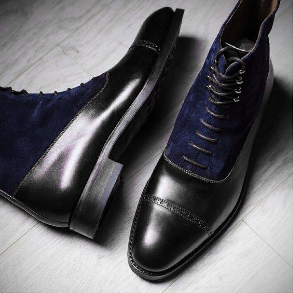 des bottes bleu pour hommes en noir bleu bottes à la cheville des bottes en cuir, robe de bout d'aile 7fd321