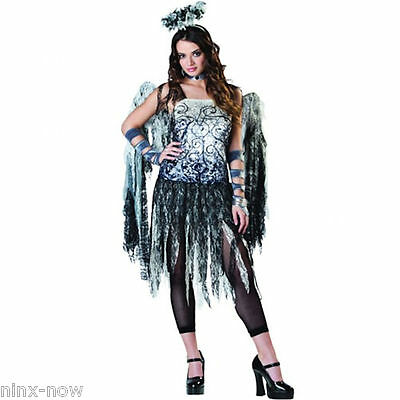 Fallen Dark Angel Halloween Women/'s Costume with Wings and Leggins