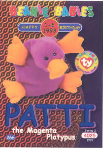TY Beanie Babies BBOC Card - Series 2 Birthday (BLUE) PATTI the Magenta Platypus