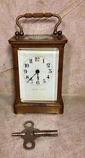 Antique French Brass Carriage Clock Porcelain Face J E Caldwell & Co Runs