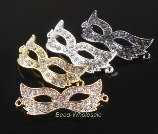 4pcs Curved Side Ways Crystal Rhinestones Mask Connector Beads Barcelet Finding