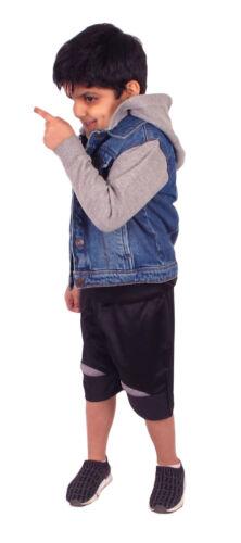 Boys Hooded Denim Jacket Kids Fleece Long Sleeves Hood Stylish Top Jackets Coat