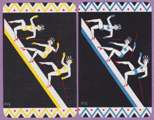 2 Single VINTAGE Swap//Playing Cards DECO DANCERS TOP HATS HEELS HELEN McKIE ART