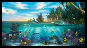 Paradise-Ocean-Animals-Elizabeth-039-s-Studio-Cotton-Fabric-by-the-Panel-23-5-034-X-42-034