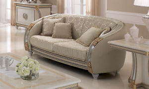 Sofa Couch 2 Sitzer Polster Abgerundetes Design Stoffbezug