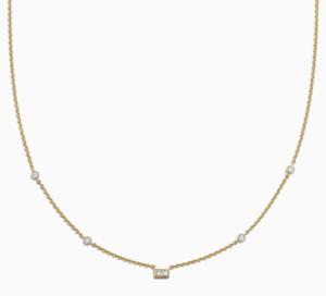 14K-Gold-Natural-Diamond-Baguette-amp-Round-Necklace