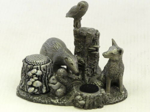 Woodland Wildlife English Pewter Sewing Station Fox Badger Squirrel Owl Mouse
