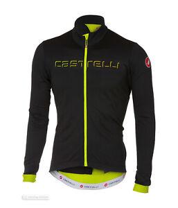 Castelli-FONDO-Thermal-Long-Sleeve-Full-Zip-Cycling-Jersey-LT-BLACK-YELLOW-FLUO
