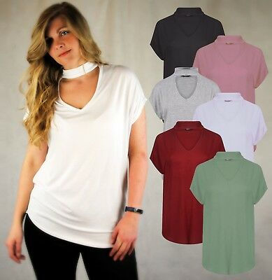 LADIES SHORT SLEEVE TOP WITH KEYHOLE NECK CHOKER STYLE JERSEY BLACK WHITE 8-22