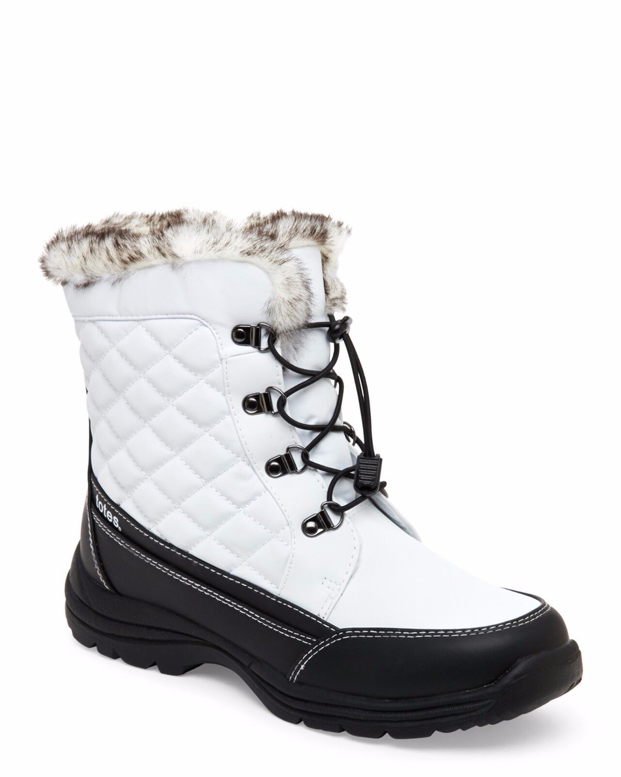 NEW WOMEN'S WHITE WATERPROOF FAUX FUR TOBY TOTES BOOTS  LACES AND SIDE ZIPPER